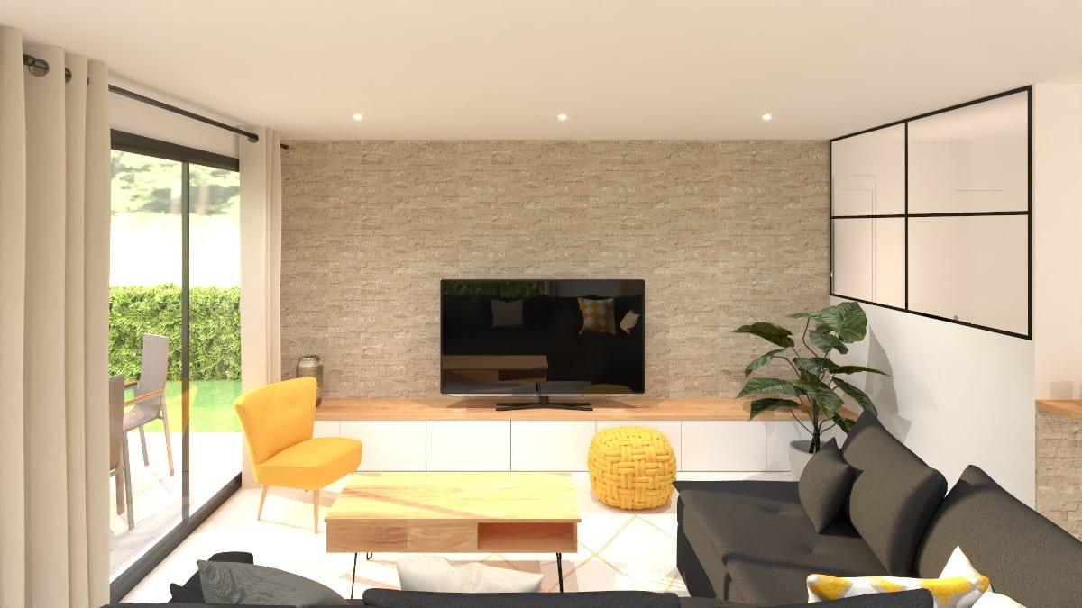 Décoration intérieure d'un salon modélisé en 3D