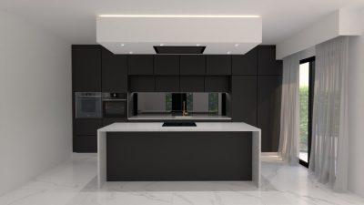 Image montrant une modélisation 3D d'une cuisine noire mate
