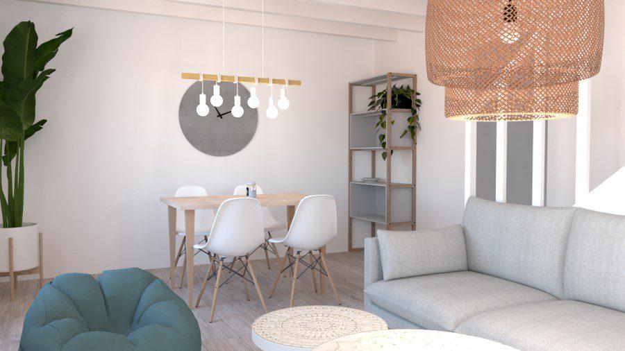 Image montrant un modélisation 3D d'un salon salle à manger