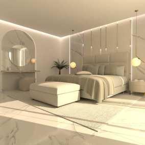 Image montrant la modélisation 3D d'une chambre pour un projet de décoration intérieure