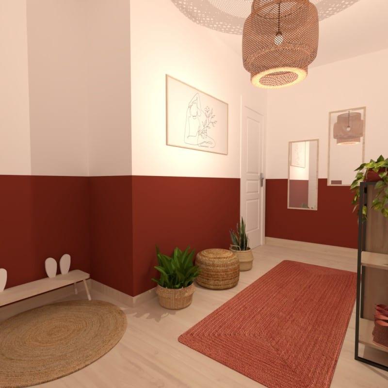 Image montrant la décoration intérieure d'une entrée Terracotta en 3D