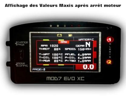 EvoXC2021 Affichage Valeurs Maxis