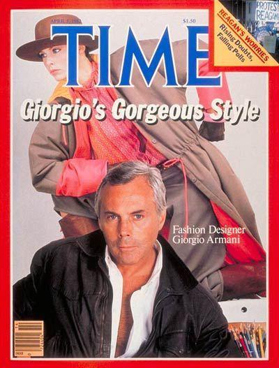Giorgio Armani posa per la copertina del Time Magazine