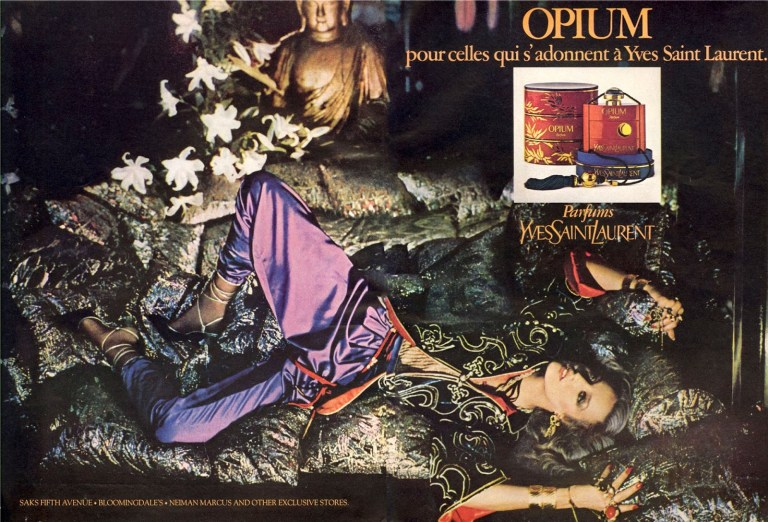 Yves Saint Laurent Jerry Hall, Opium Perfume, 1977
