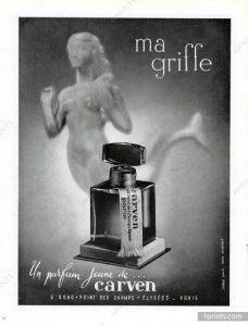 Una pubblicità del profumo Ma Griffe di Carven del 1945