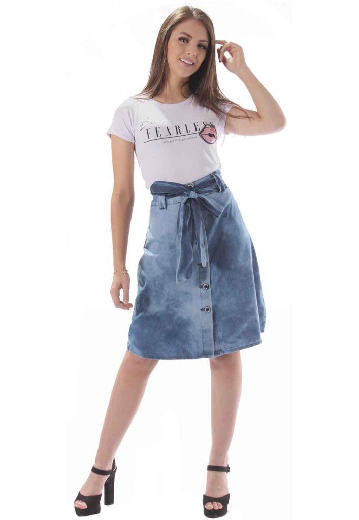 Looks com Saia Jeans 2021 Cintura Alta