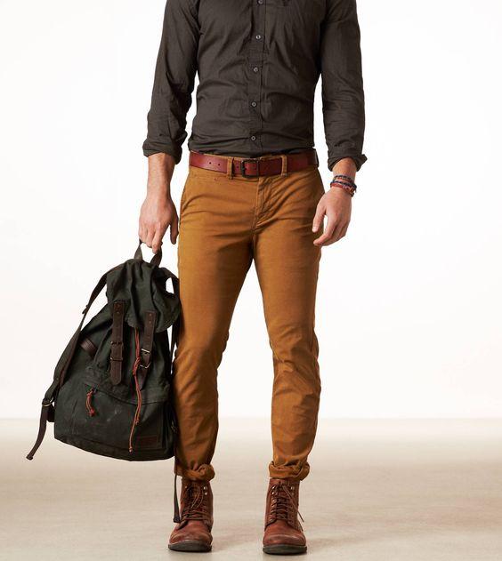 calça masculina tons terrosos