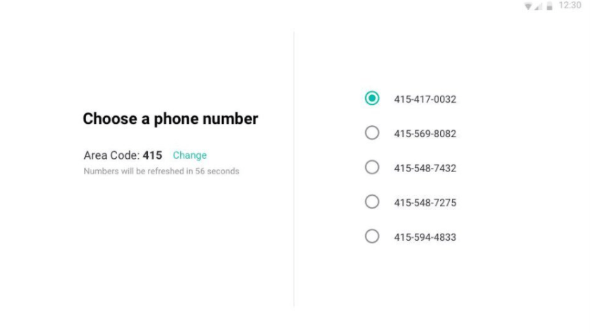 choose your phone number