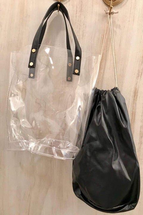 Detalle del bolso separado de la bolsa portaobjetos.