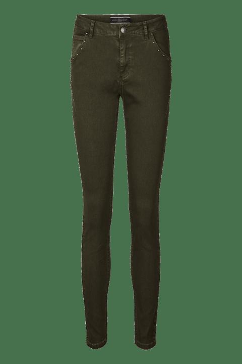 Pantalón pitillo con apliques en bolsillos