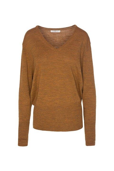 ROPA CHICA. Jersey de pico con canalé ancho en puño y cintura, color teja