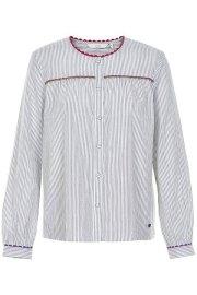 Nümph. Blusa de rayas en tonos gris, con botones.
