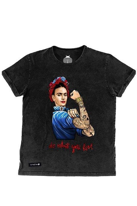 Be happiness. Camiseta Frida kahlo en negro desgastado, manga corta y cuello redondo.