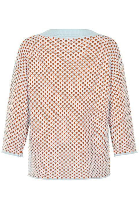 Numph. Suéter inessa en color coral anaranjado  y azul.