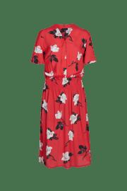 Vestido favorecedor de manga corta, con print floral, escote pico y goma ancha en la cintura..