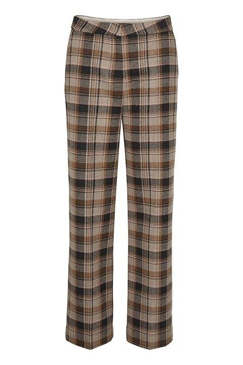 Indie Soaked in Luxury. Pantalón de cuadros de corte recto y tiro a la cintura.