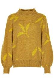 Nümph. Jersey de hojas Nunadya de cuello perkins y mangas globo