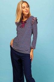 Rockies pullover. Jersey con lurex de rayas blancas, rojas y azules, manga larga y cuello redondo.
