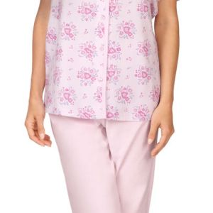 Roze dames pyjama Comtessa met knoopjes