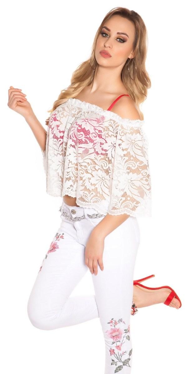 Sexy Carmen lace shirt White