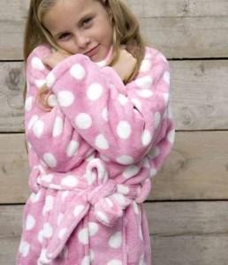 Little pink dottie / kinder badjas - XL (11-13 jaar)