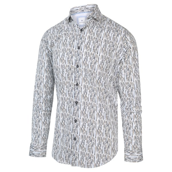 Blue Industry Heren Overhemd Wit Met Strepen Print Print Perfect Fit