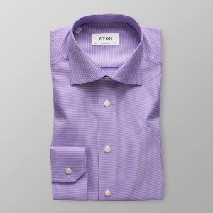 Eton Heren Overhemd Paars Pied De Poule Twill Stretch Contemporary Fit Cutaway