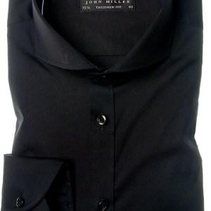John Miller Heren Overhemd Zwart Cutaway Tailored Fit Stretch