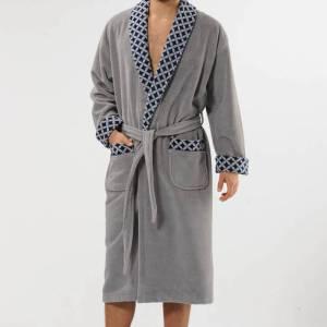 Badjas heren grijs Ruiten met sjaalkraag