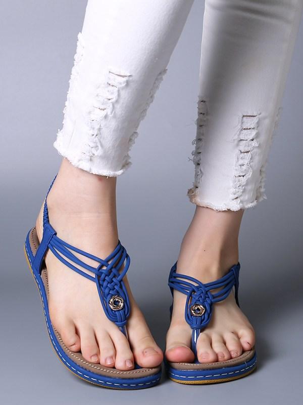 Handmade Knitting Clip Toe Elastic Flat Sandals