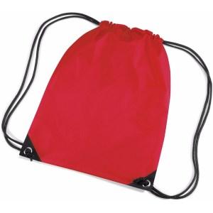 Rode gymtas met koordsluiting