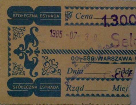 Bilet na koncert w Warszawie 1985.07.30
