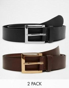 Lot de 2 ceintures habillées en cuir 22,99e / Asos.