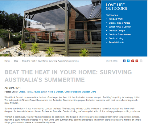 Article excerpt and image from Beat the Heat in Your Home Surviving Australia's Summertime, Australian Outdoor Living