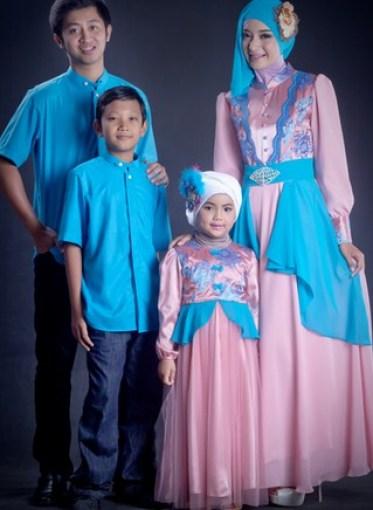 Model Baju Muslim Lebaran Keluarga Warna Biru Terbaru