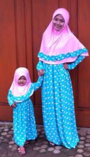 Baju gamis couple ibu dan anak perempuan santai