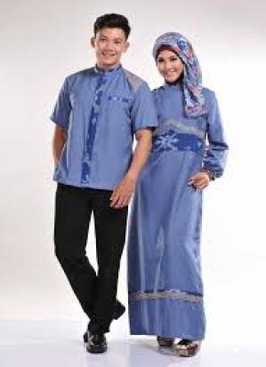 Model Baju Lebaran Untuk Keluarga Warna Biru Tua Terbaru