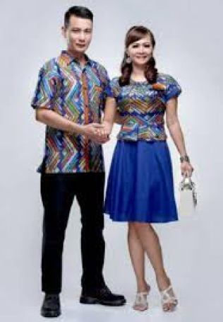 baju seragam motif batik kombinasi polos modern
