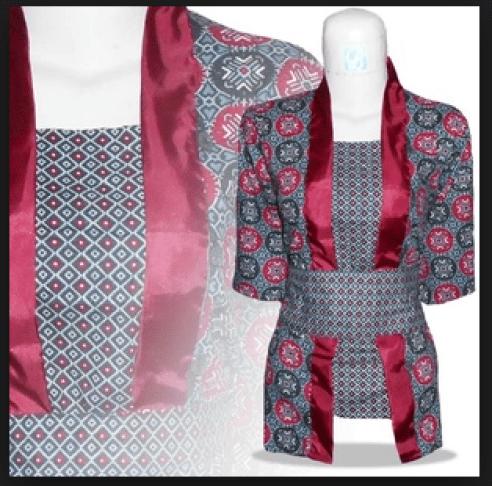 model baju batik untuk ke kantor wanita kombinasi