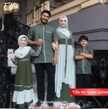 Baju couple muslim keluarga untuk lebaran