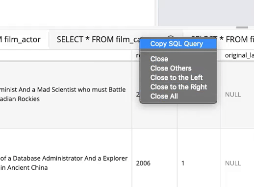 Screenshot of modelDBA, right-click menu for results tabs. Right-click a result tab to copy the related query, or close one or more tabs.
