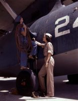 Women are contributing their skills to the nation's needs by keeping our country's planes in top-notch fighting condition, Corpus Christi, Texas in August 1942. Wife of a disabled World War I veteran, Mrs. Cora Ann Bowen (left) works as a cowler at the Naval Air Base. Mrs. Eloise J. Ellis is a senior supervisor in the Assembly and Repairs department. (Howard R. Hollem/U.S. Office of War Information/Library of Congress)