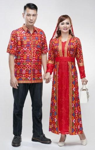 Baju Lebaran Keluarga Couple Berbahan Brokat