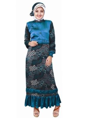 Model Baju Gamis Pesta Motif Batik untuk Orang Gemuk