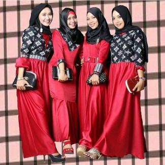 Gamis Batik dengan Kombinasi Satin Terbaik Saat Ini