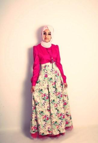 Model Baju Gamis Batik Kombinasi Polos Termodis Saat Ini