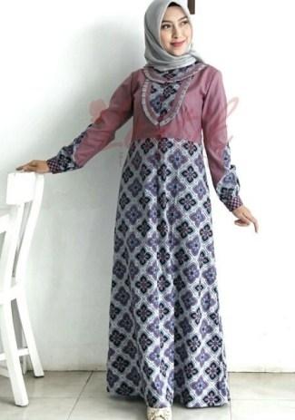 Model Baju Gamis Batik Kombinasi Polos Terpopuler