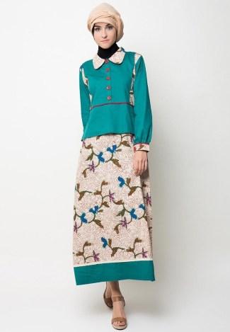 Model Baju Gamis Batik Kombinasi Polos untuk Pesta