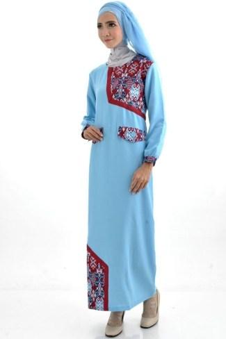 Model Baju Gamis Batik Kombinasi Polos untuk Wanita Muslim