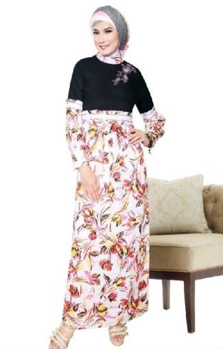 Model Baju Gamis Batik Kombinasi Polos